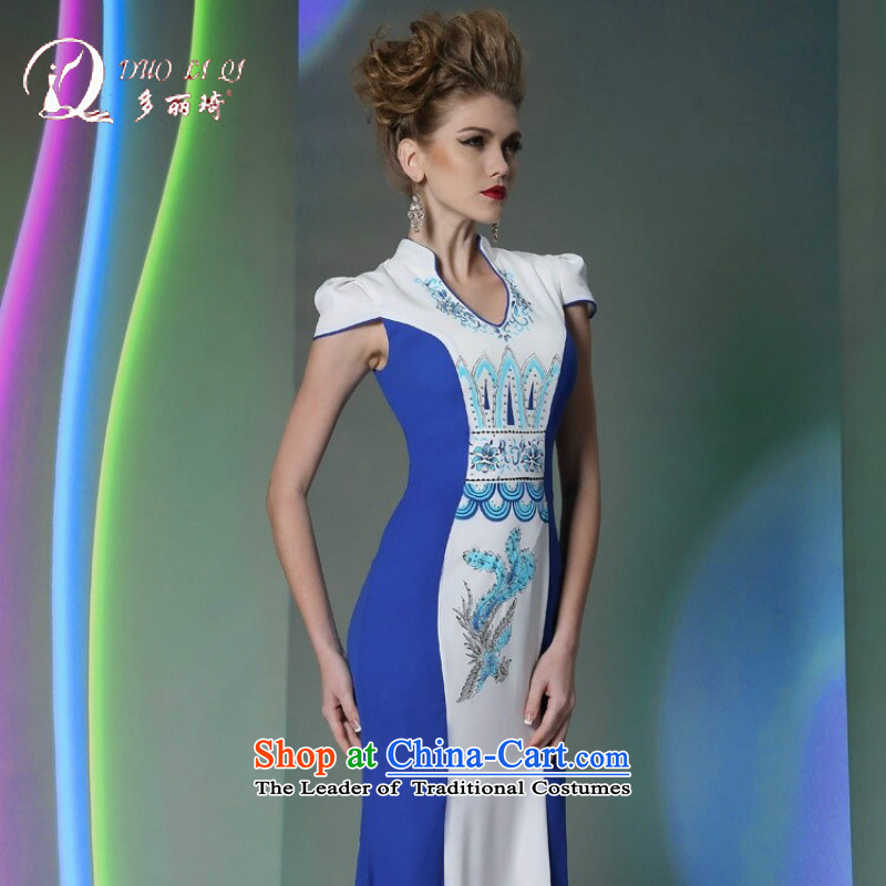 Doris Qi qipao gown S curve classic skirt T desktop show model dress blue L