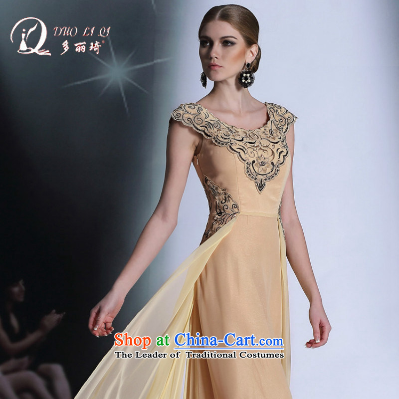 Doris Qi yellow short-sleeved retro-evening dress concept for larger bridesmaid to Sau San dress Pale Yellow?XL