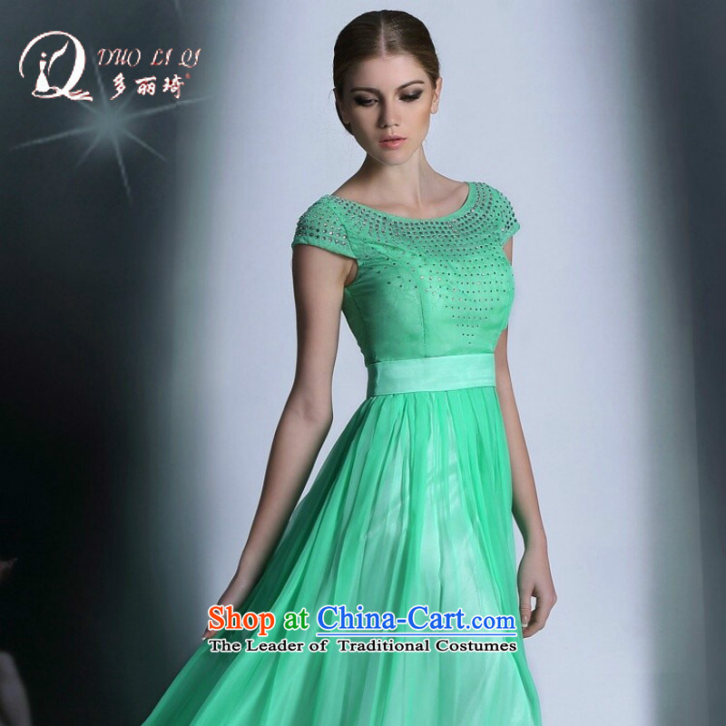 Doris Qi sweet green slotted shoulder dress Hot Sales Western dress green�M