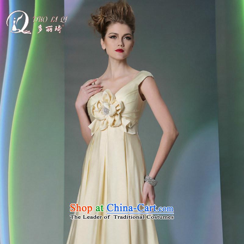Doris Qi western dress sweet butter yellow silk satin dress White�XL