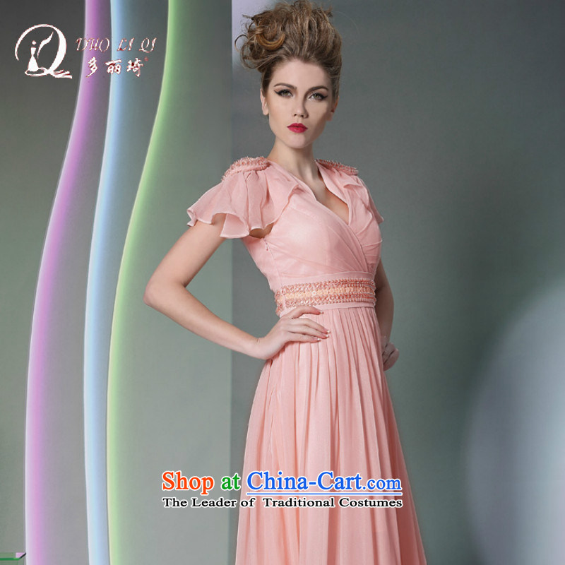 Doris Qi pink dress short-sleeved Show 2014 new dress hot appointments bridesmaid evening female pink?XXL