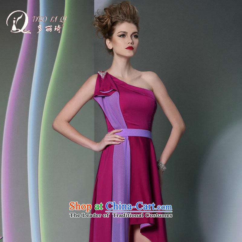 Doris Qi mauve shoulder temperament evening dresses red carpet show dress Long Hot Sales for wedding dresses 2014 purple?M