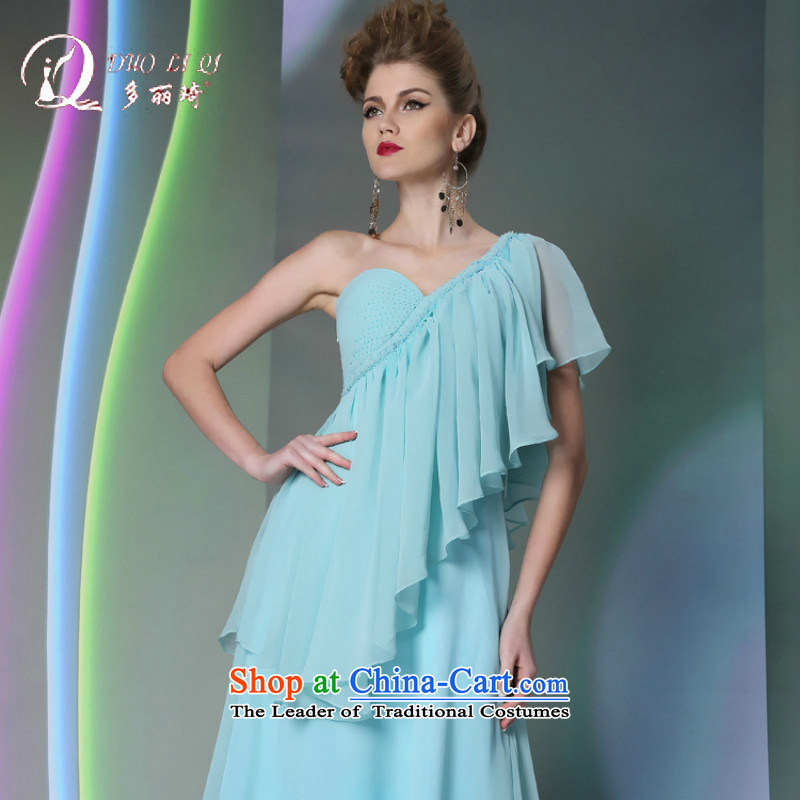 Doris Qi Bohemia, long blue dress 2014 show moderator dress of autumn and winter sky blue dress?XL