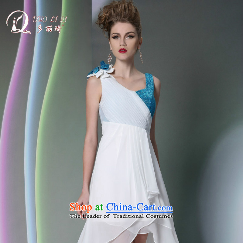 Doris Qi western dress white chiffon bows before marriage Dress Short long after dinner gatherings with dress White�M