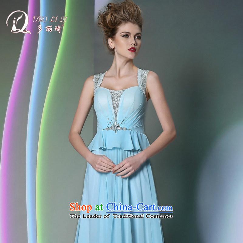 Doris Qi new products retro evening dress bridesmaid dress appointments dinner dress skirt moderator small dress Blue�M