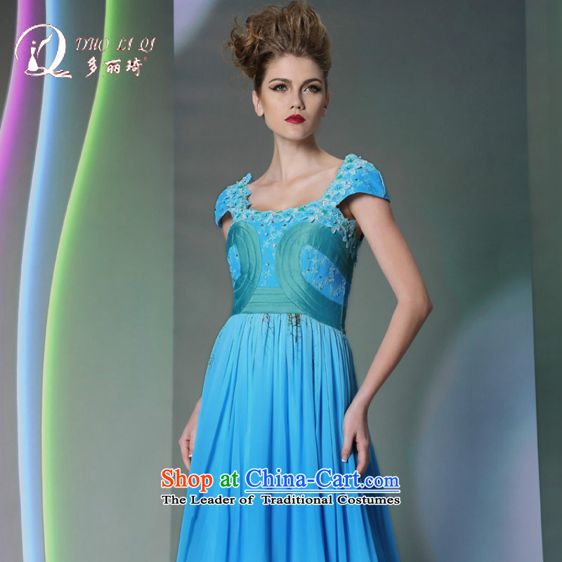 Doris Qi 2014 new products long dresses in-the-know party banquets at night blue light blue dress?XL