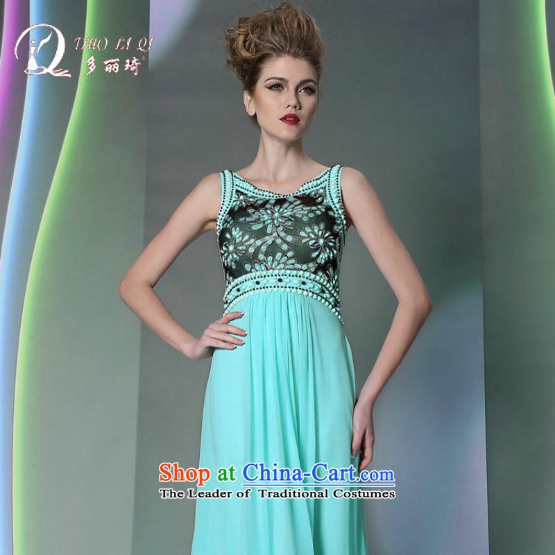 Doris Qi blue dress 2014 high-performance services under the auspices of bows waist dress Blue�M