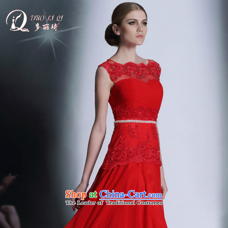 Doris Qi?2014 autumn and winter red dress bride Western drink service wedding dress red?L