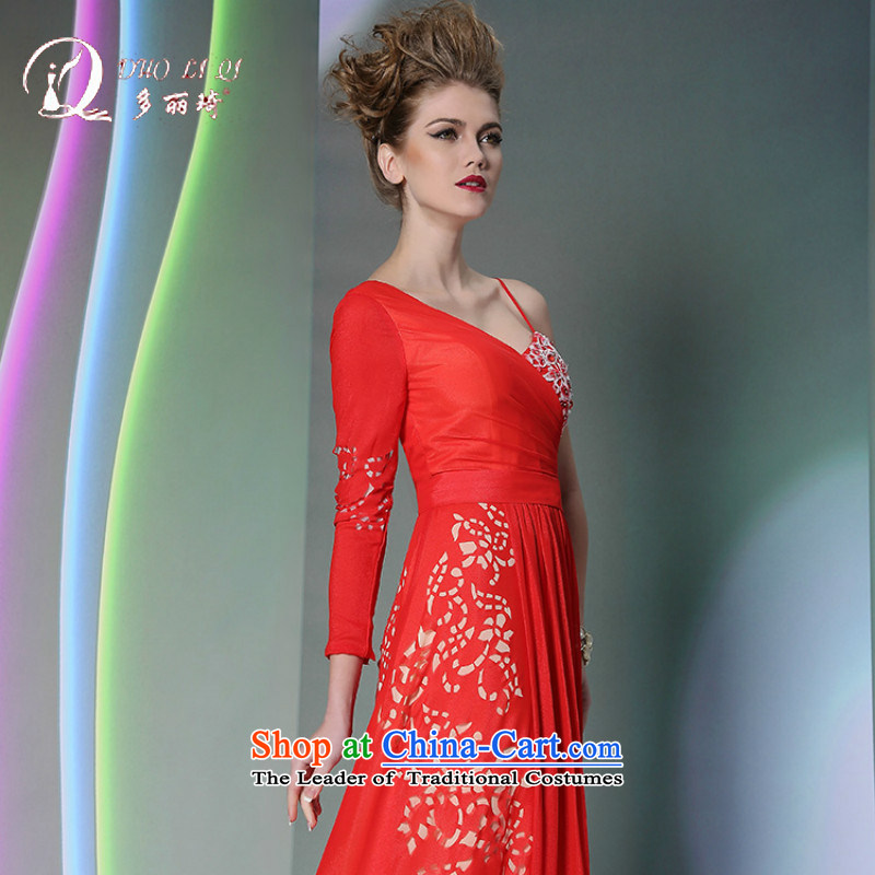 Doris Qi Western Red Dress autumn and winter marriage bows dress red?S