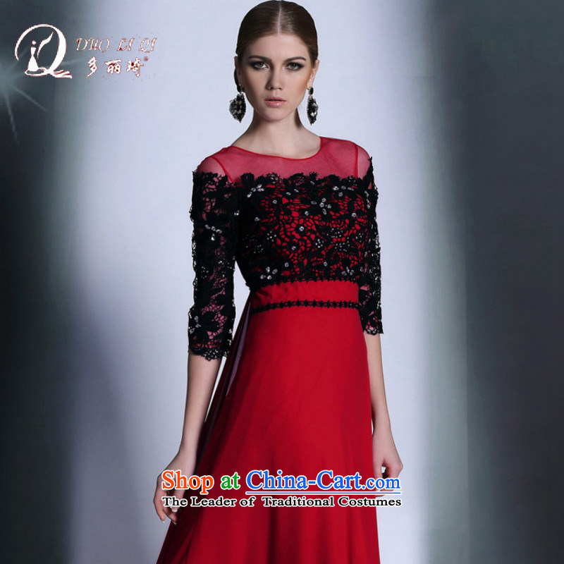 Western dress in red and black color plane collision cuff evening dress western style original dress winter bows services red?L