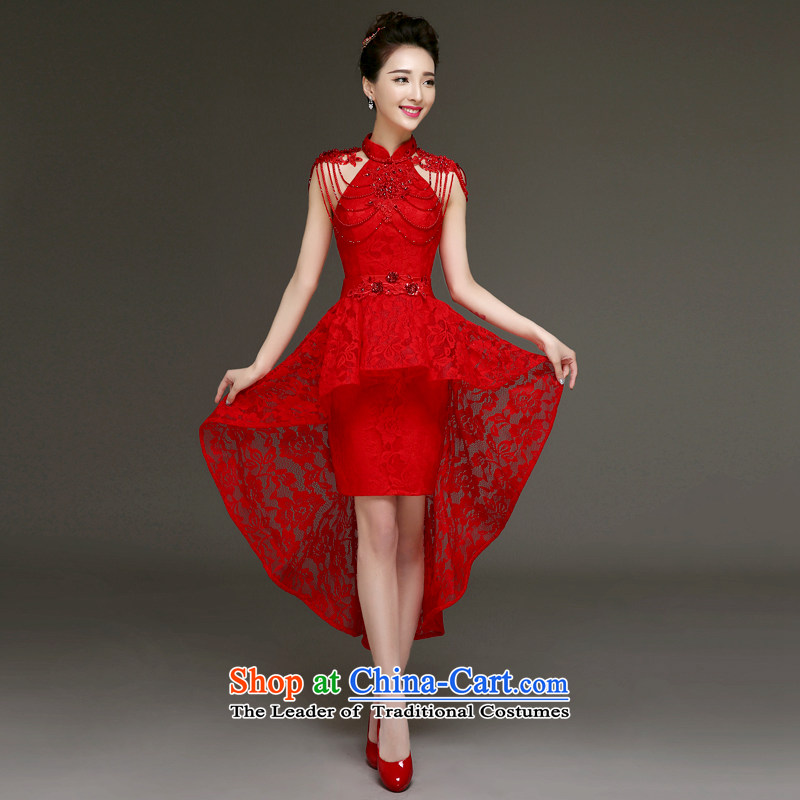 The privilege of serving-leung 2015 new bride bows services in summer and autumn short, red front stub long after wedding dress small red dress�L