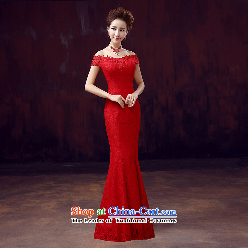 The dumping of the wedding dress bows dress bride new 2015 Red Dress long word   crowsfoot shoulder to align the red�M