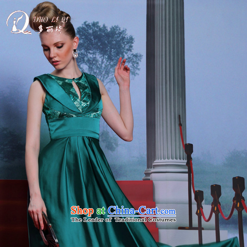 Doris Qi elegant evening dress in Europe 2014 larger small dress damask dresses Ms. Army green?L
