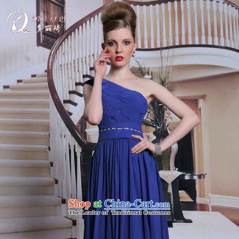 Doris Ki-chun, sapphire blue dress shoulder noble minimalist A field in evening dress female zipper waist long skirt blue?XXL