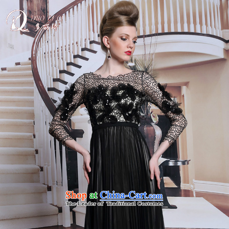 Doris Qi new products in Europe dress long-sleeved black dress engraving flowers dinner graphics thin black dress?M