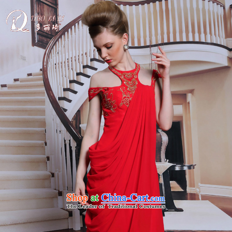 Doris Qi red wall also bride evening dresses retro embroidery wedding dress and sexy beauty evening dresses RED?M