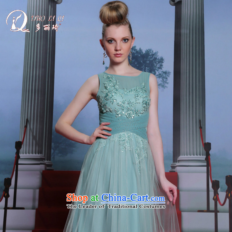 Doris Qi light blue embroidery evening dresses winter long gown large light blue?M
