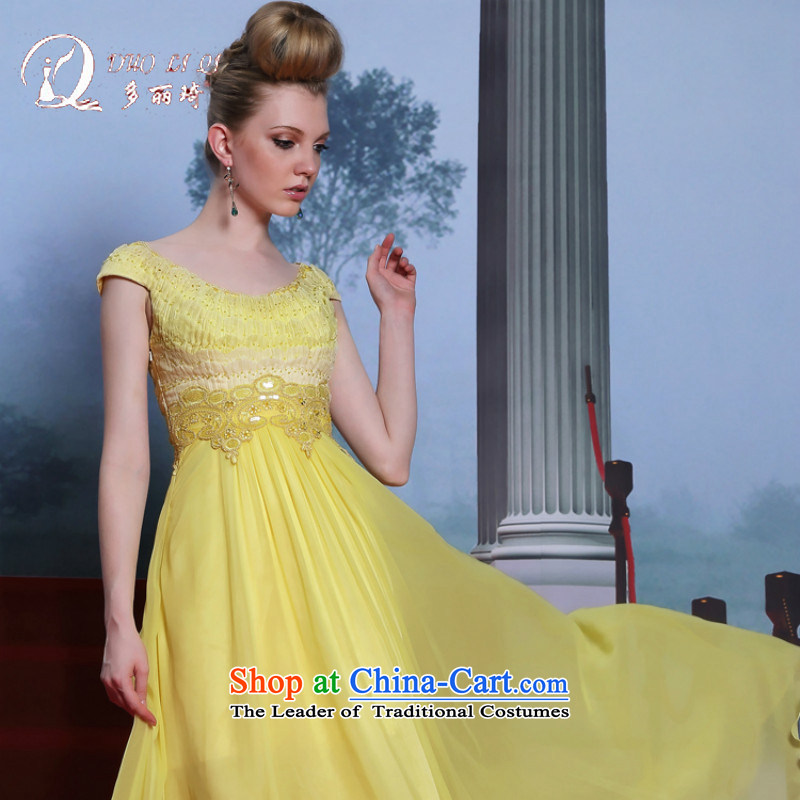 Doris Qi evening dresses yellow moderator dress is embroidered evening A field large dress skirt yellow?XXL