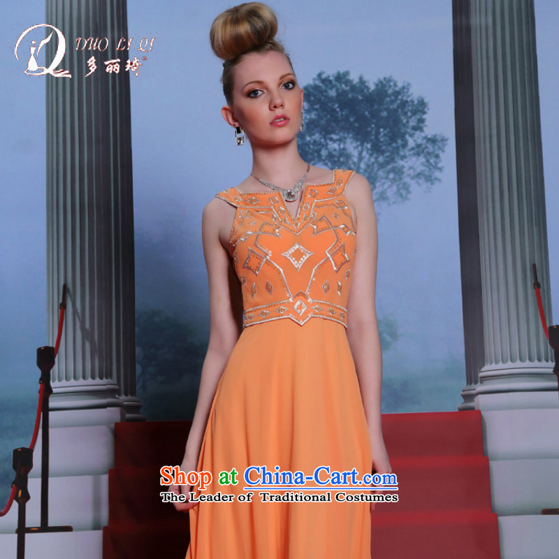 Doris Qi New Evening orange retro dress show show dress Orange?S