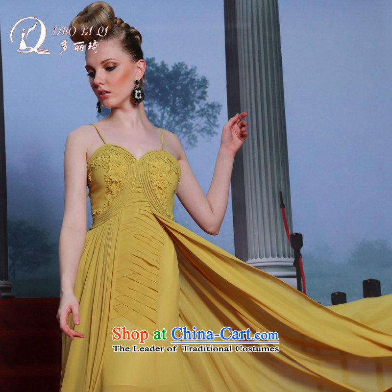 Doris Qi?2014 Western dress turmeric strap manually take humorous western dress yellow?XXL