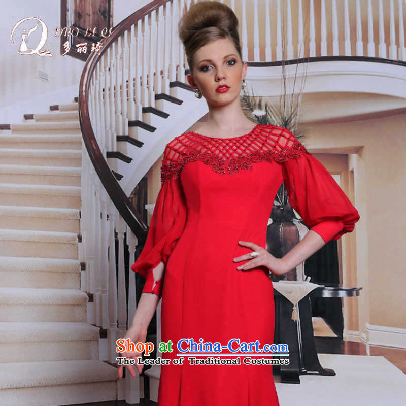 Doris Qi western dress dress fell onto the ground in bride bows cuff dress red�L