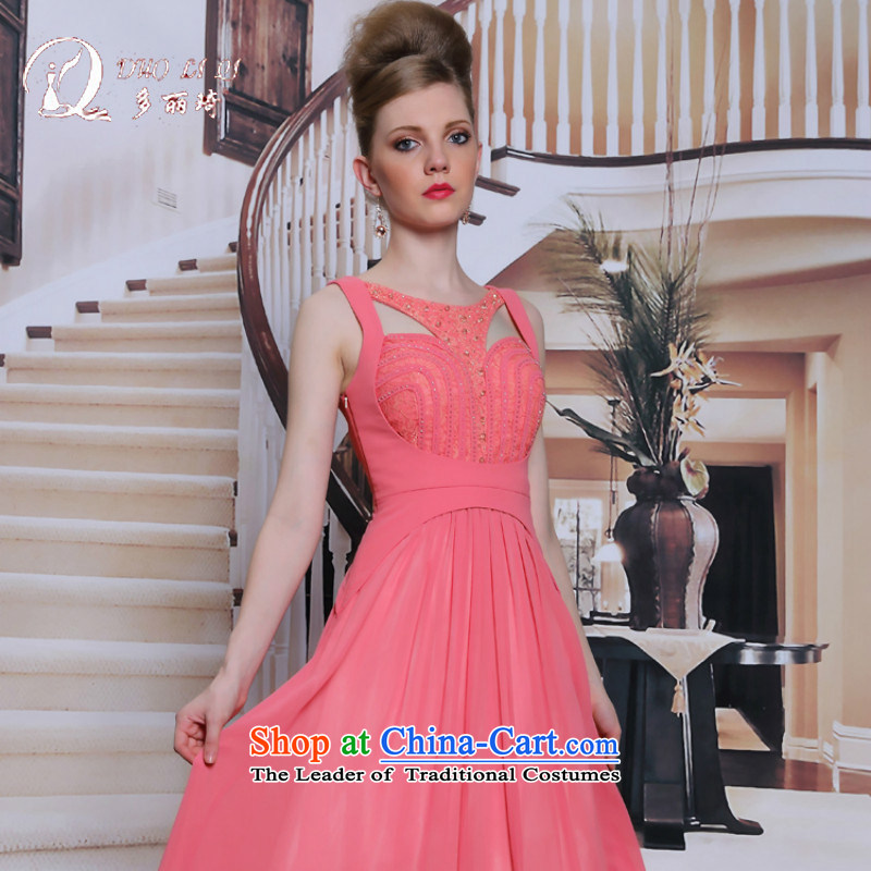 Doris Qi Red Dress sleeveless diamond jewelry Sau San evening red carpet bridesmaid adult gown sexy pink?S