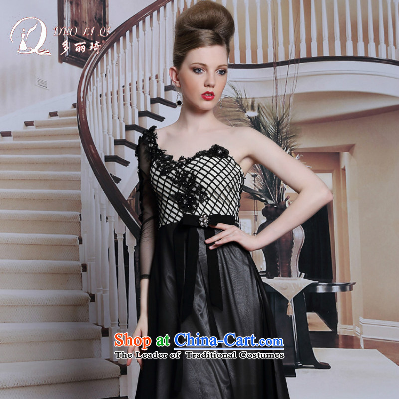 Doris Qi black strap evening dress dinner reception and long evening dresses Black聽XL