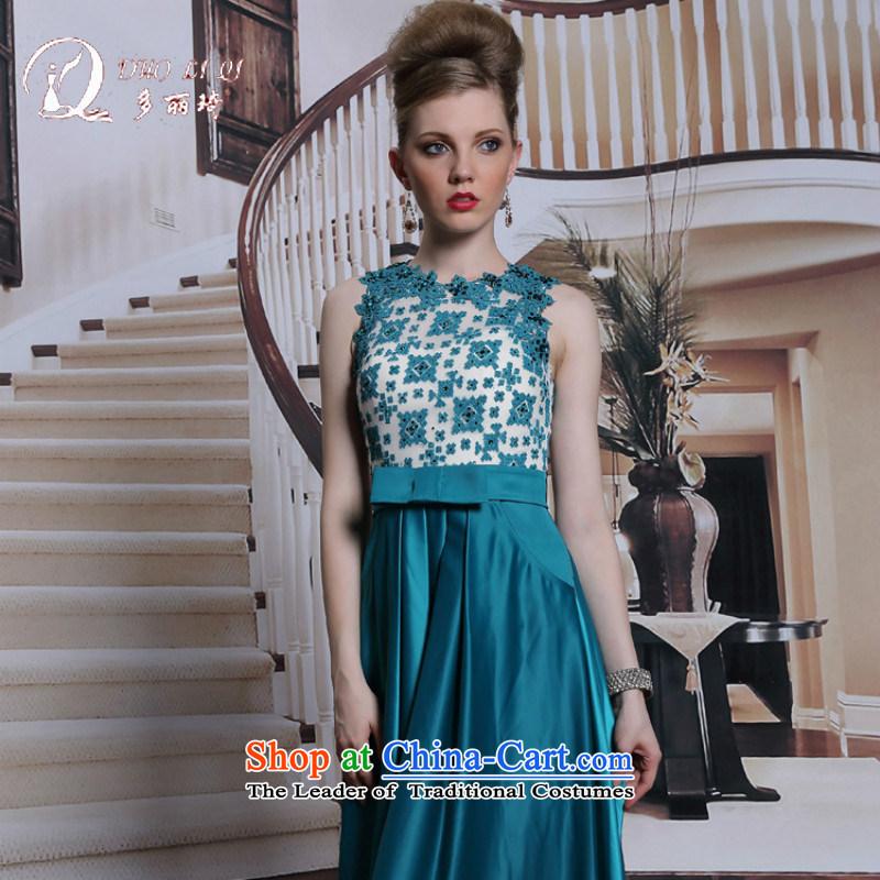 Doris Qi Peacock Blue Diamond Jewelry evening dresses chiffon Bow Tie Gala Evening Dress long control evening dress Dark Blue聽M