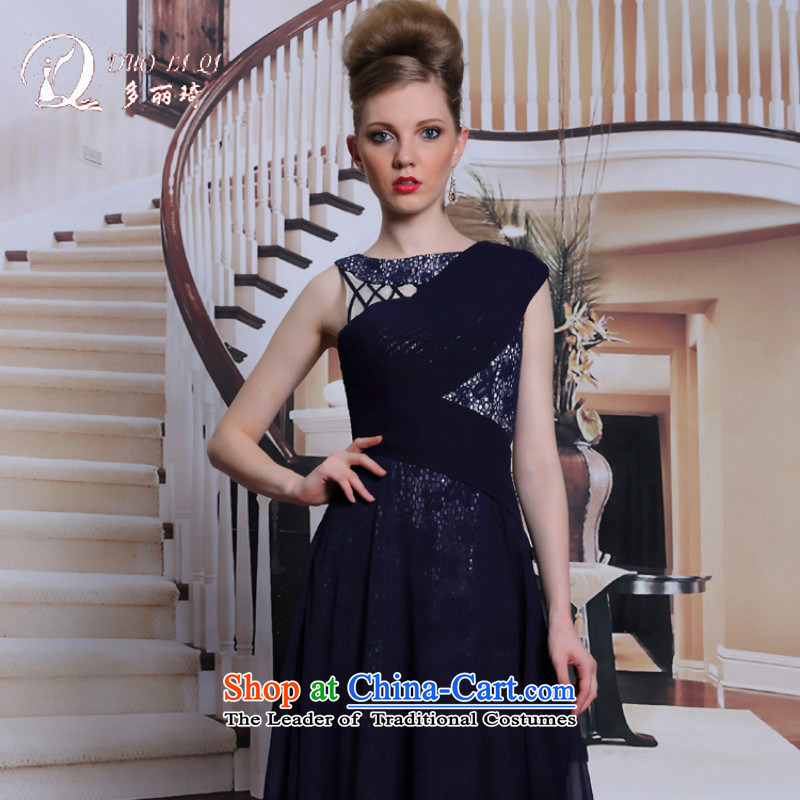 Doris Qi western dress in dark blue dress waist video thin nail pearl manually dresses retro and dinner pack Black?XL
