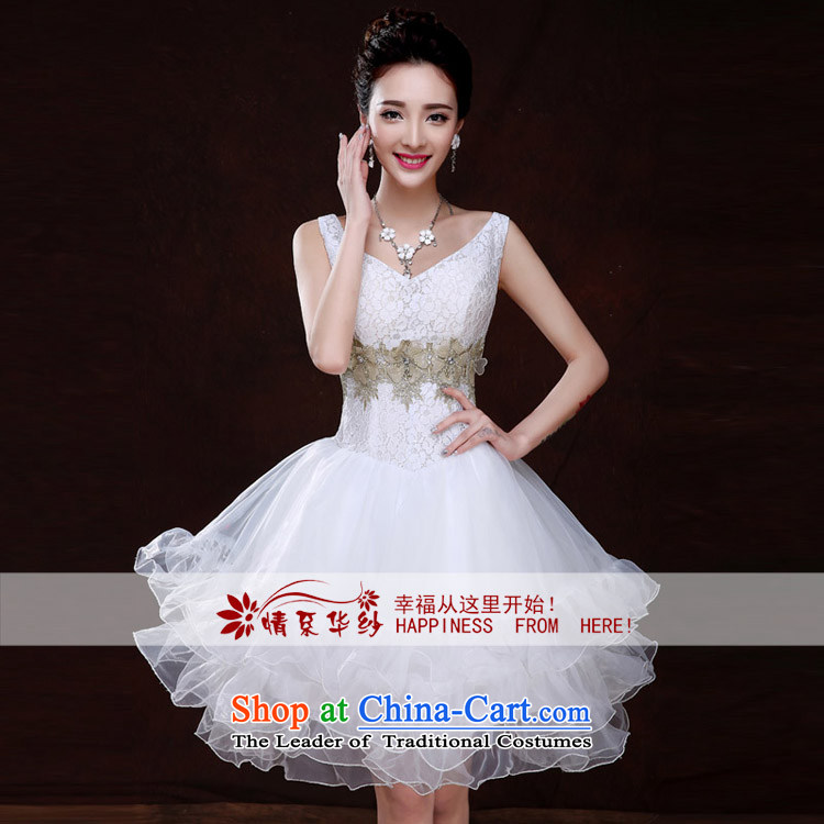 Qing Hua yarn bride short wedding banquet evening dresses bridesmaid Service, 2015 new spring and summer wedding dresses marriages small dress Sau San white聽L pictures, female price, brand platters! The elections are supplied in the national character of distribution, so action, buy now enjoy more preferential! As soon as possible.