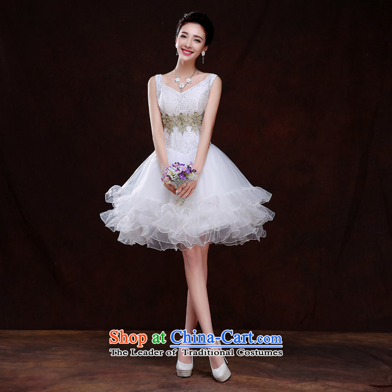 Qing Hua yarn bride short wedding banquet evening dresses bridesmaid Service, 2015 new spring and summer wedding dresses marriages small dress Sau San white聽L female