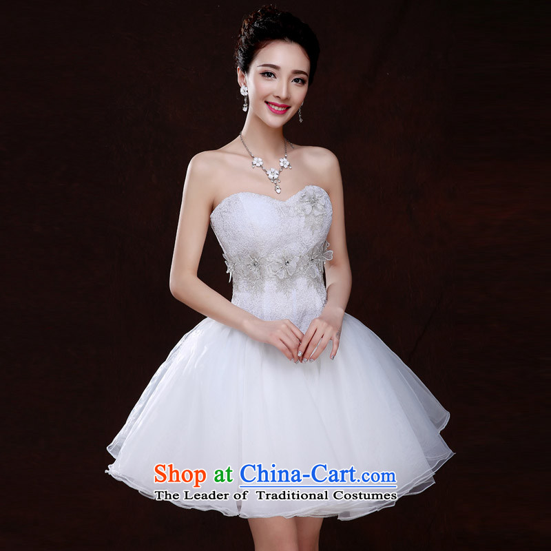 Qing Hua yarn聽new Korean 2015 wedding dresses lace bridesmaid service, evening dresses stylish Sau San service bows wedding White聽M