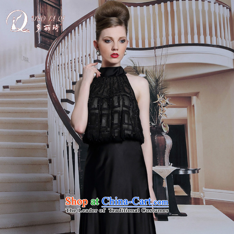 Doris Qi Hang also dress aristocratic red carpet evening dress dinner summer dresses black dress black?S