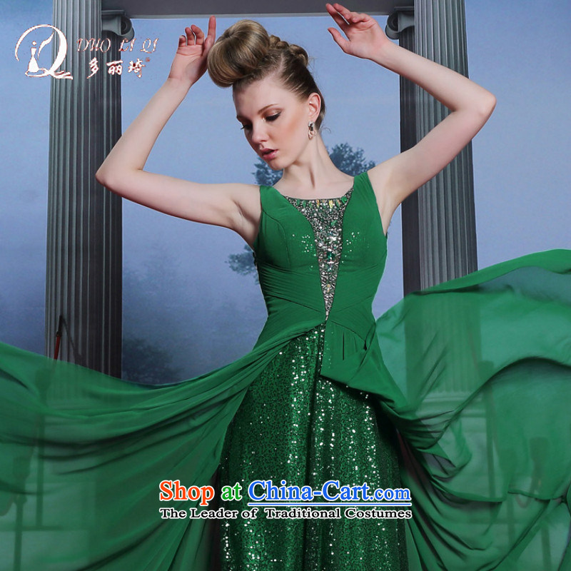 Doris Qi on chip evening dresses large dress in Europe Sau San show etiquette evening dress green?S