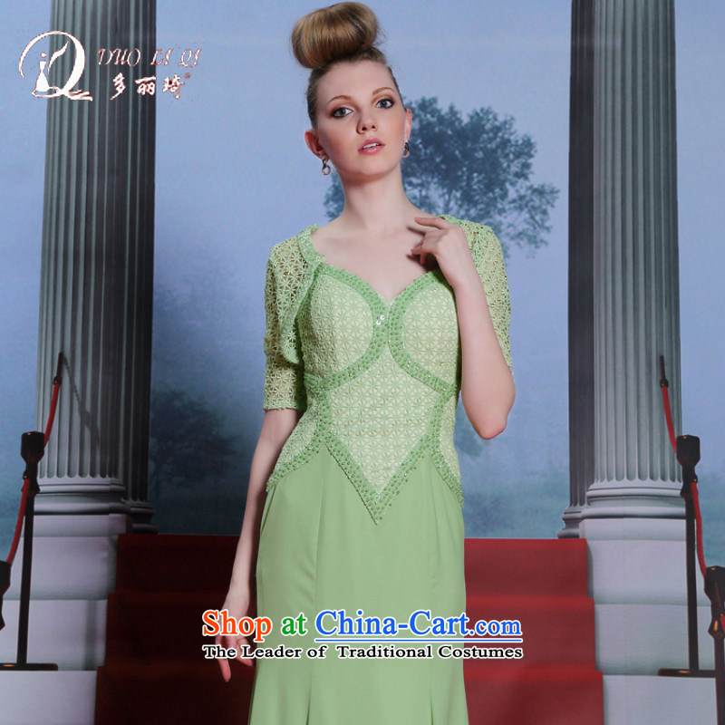 Doris Qi Summer Celadon Colored dress strap evening two kits nail pearl dress skirt larger dress green?M