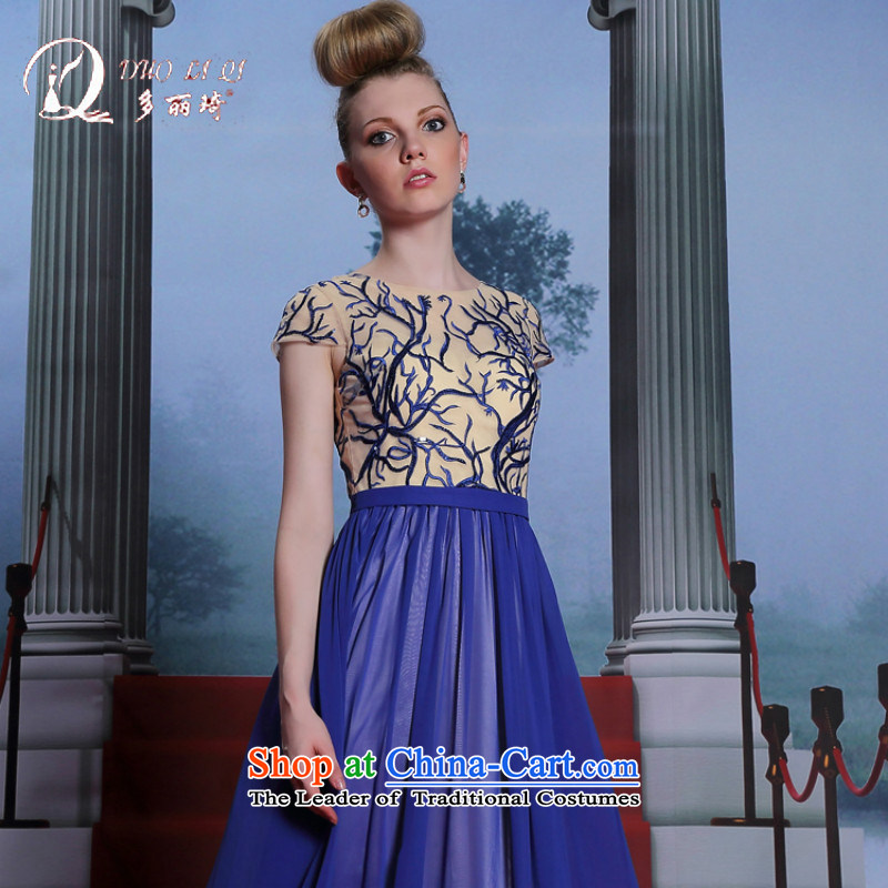 Doris Qi Lai Ki-blue-chip dress up to annual long dresses dress blue?XXL