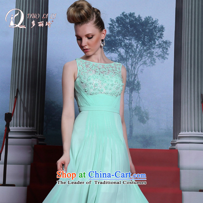 Doris Qi Powder Blue Dress Circle sleeveless long evening dresses ball dress graduated from sky blue dress?M