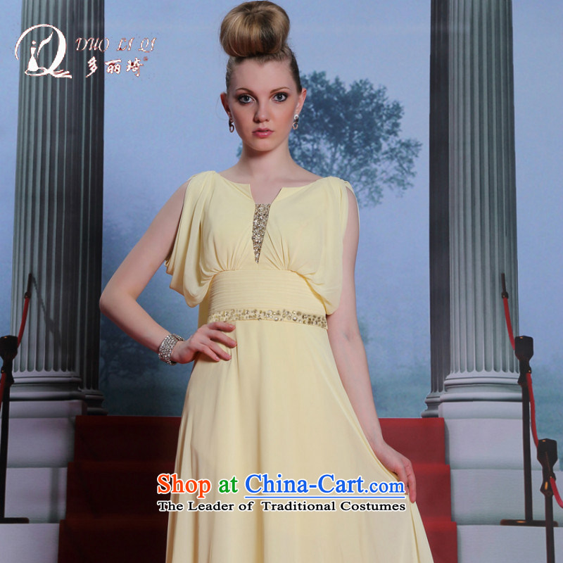 Doris Qi Champagne Evening dress in Europe Wong evening dresses large nails Mother of Pearl River Delta dress pale yellow?M