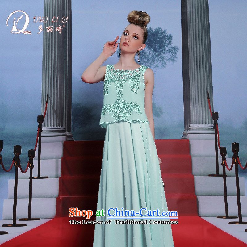 Doris Qi evening dresses two kits stylish large bridesmaid dress light blue dress skyblue engraving M