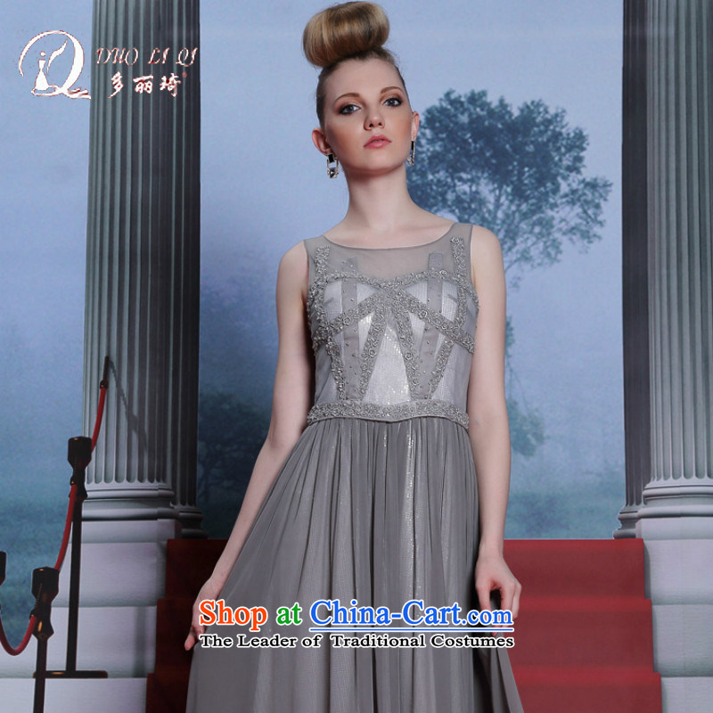 Doris Qi evening dresses silver gray embroidery Foutune of dress stylish dress light gray XL