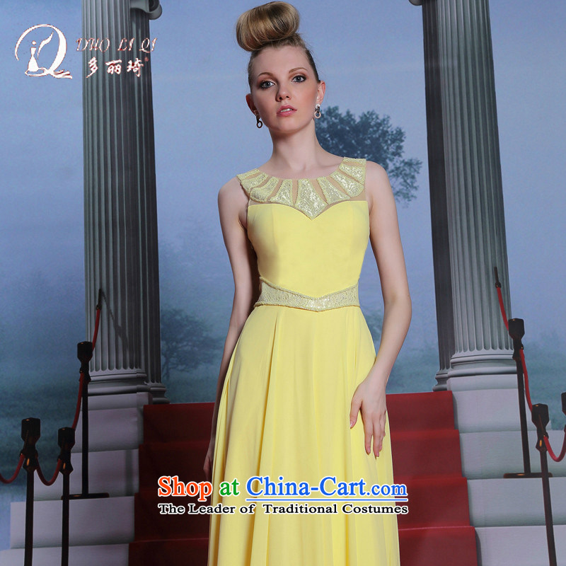Doris Qi new bright yellow dress manually staple bead dress bridesmaid dress graduated dress Pale Yellow?XL