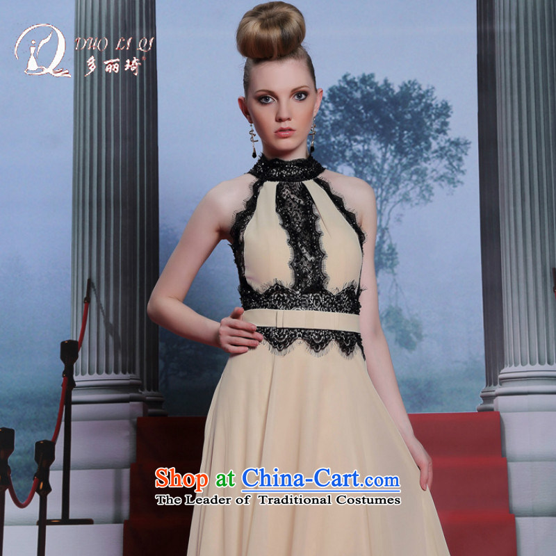 Doris Qi new products apricot color hanging also dress lace nail pearl dress long thin summer evening dress graphics apricot?XXL