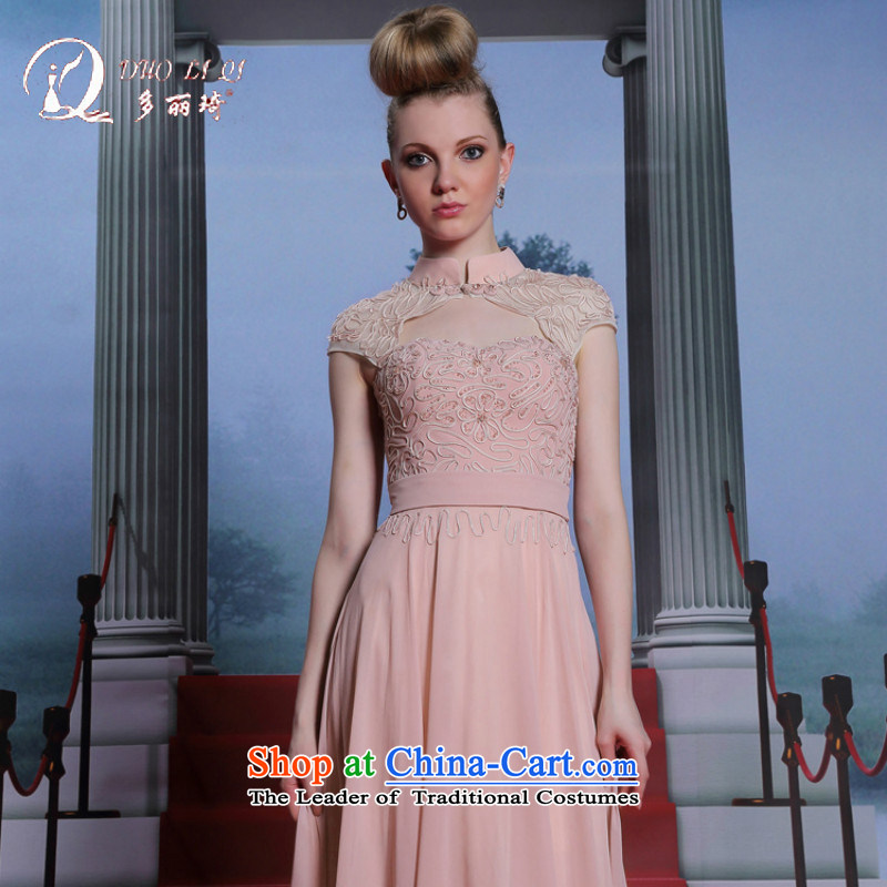 Doris Qi New Products Europe or the evening dresses cheongsam dress suit collar-pink?XXL
