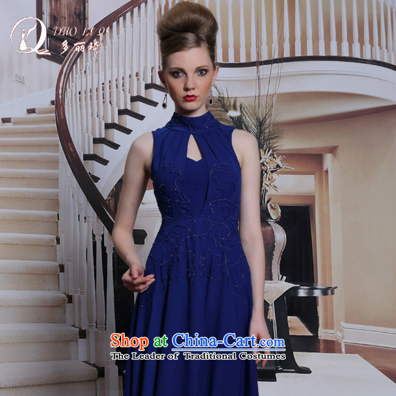 Doris Qi video thin evening dresses sleeveless summer evening dress red carpet annual mother dress blue?S
