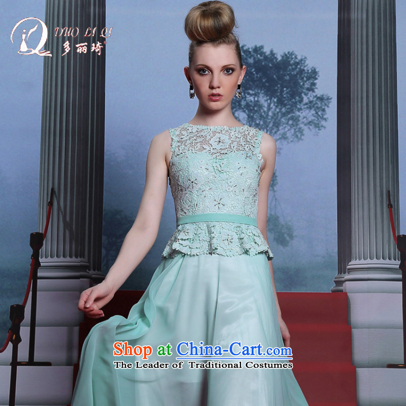 Doris Qi leave two blue dress sleeveless 2014 sweet dress the word in the waist Sau San evening dress light blue?L