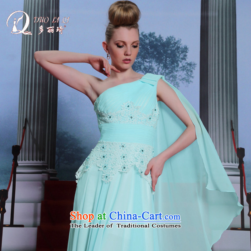 Doris Qi�Lai Ki Europe 2014 more evening dresses shoulder water-soluble sweet flowers graduated dress skyblue�XXL