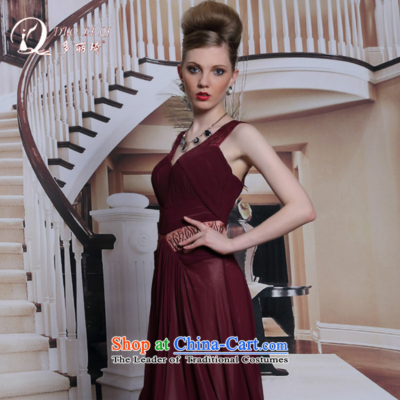 Doris Qi western dress wine red dress sexy back dress skirt brown�L