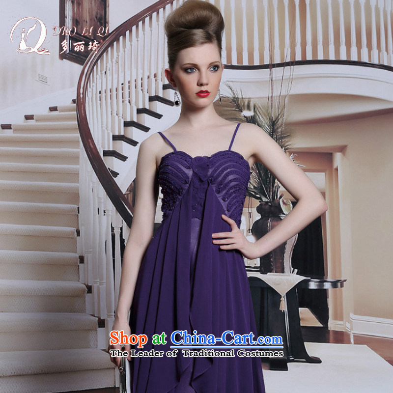 Doris Qi western dress strap evening dress purple sexy adjustable evening dresses 2014 summer long skirt dress purple?XL