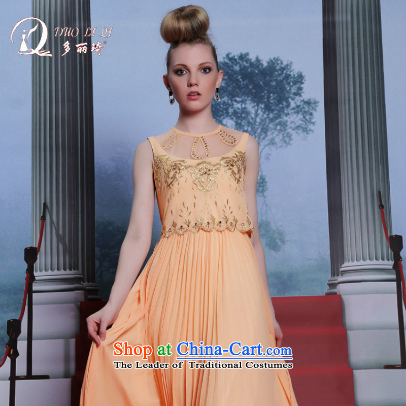 Doris Qi western dress manually evening dresses and large new sweet appointments sleeveless dress Yellow?M