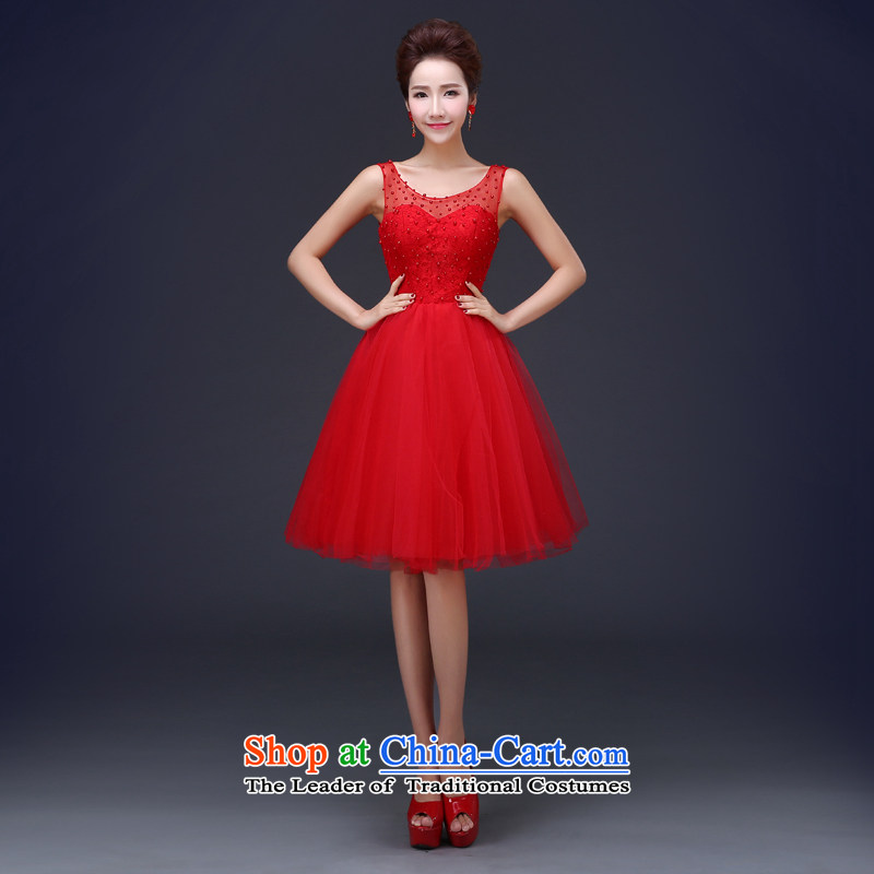 Jie Mia in? spring and summer 2015 new bride short, Wedding Dress lace red bows services red?L